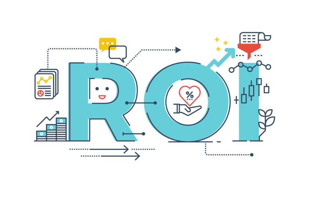 ROI : Return on investment word lettering typography design illustration with line icons and ornaments in blue theme